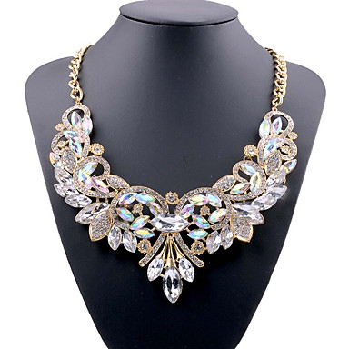 d9f885ef0 Women s Crystal Bib Statement Necklace Ladies European Chunky fancy White  Red Blue 49 cm Necklace Jewelry For Party Evening Party