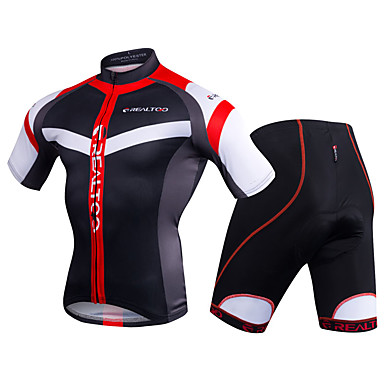Realtoo Men s Short Sleeve Cycling Jersey with Shorts - Black   Red   Blue    White 01452e591