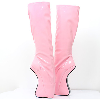 Pentru femei Pantofi PU Toamna iarna Noutăți Cizme Heteltipic călcâi Vârf rotund Cizme înalte Negru / Portocaliu / Roz / Party & Seară
