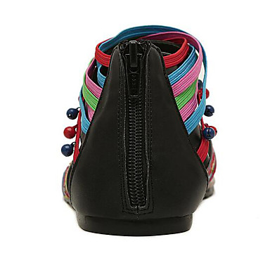 Couture Printemps Bout Talon Confort Arc Ruban 06716642 en Chaussures Femme Sandales Dentelle ciel été Cuir ouvert Plat en Faux tq0SxpwP