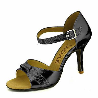 Mulheres Sapatos de Dança Latina / Sapatos de Salsa Glitter / Courino Sandália / Salto Presilha / Cadarço de Borracha Salto Personalizado Personalizável Sapatos de Dança Prateado / Vermelho / Azul