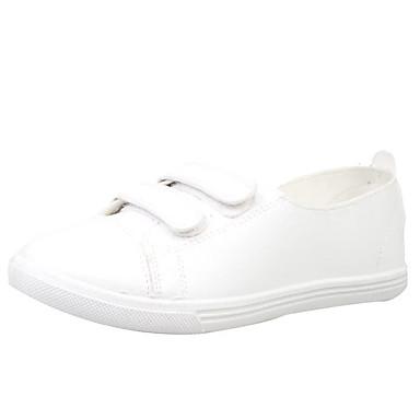 Mujer Verano PU redondo microfibra 06654212 Confort Plano sintético Dedo Zapatos Bailarinas Negro Tacón Blanco rw6gqr