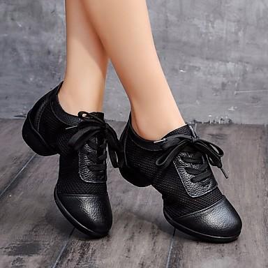 Motivata Per Donna Sneakers Da Danza Moderna Tulle - Pelle Sneaker Basso Scarpe Da Ballo Bianco - Nero - Prestazioni - Da Allenamento #06665357