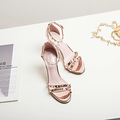 Bout Soirée Chaussures Aiguille 06714587 Or Femme Bride Evénement ouvert Talon Cheville Eté Polyuréthane Argent Rivet Sandales de amp; Marche ZdzwqvOz