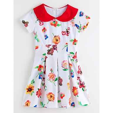 Amichevole Bambino (1-4 Anni) Da Ragazza Florale Fantasia Floreale Manica Corta Poliestere Vestito Bianco #04819583 Prezzo Più Conveniente Dal Nostro Sito