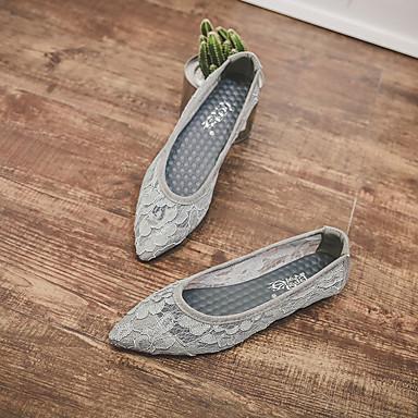 Encaje Mujer Puntiagudo 06681453 Tacón Confort Verano Bailarinas Dedo Gris Plano Zapatos Almendra rw8qCr