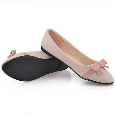 Nobuck Bailarinas Dedo Zapatos Pajarita Negro Mujer Beige verano Primavera redondo Plano Cuero 06693728 Tacón Confort xgaYYqZE