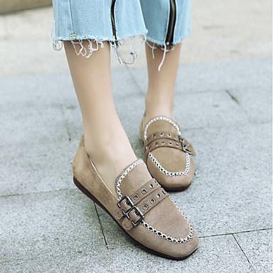 Femme Chaussures Cuir Cuir Chaussures Nubuck Printemps / Automne Confort Ballerines Talon Plat Bout carré Boucle Noir / Beige / Gris 5b2857