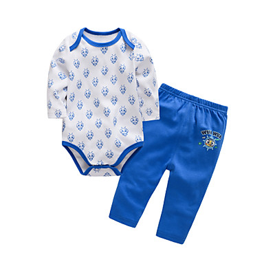 Bebelus Unisex Activ Zilnic / Concediu Imprimeu Imprimeu Manșon Lung Lung Lung Bumbac Set Îmbrăcăminte Albastru piscină 59