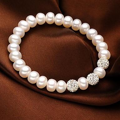 abordables Bracelet-Bracelet à Perles Femme Cristal Perle d'eau douce Perle S925 argent sterling Perle d'eau douce simple Naturel Doux Bracelet Bijoux Blanc Forme de Cercle pour Cadeau Quotidien