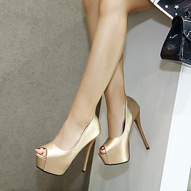 à Aiguille Confort 06666187 Polyuréthane Basique Chaussures Femme Printemps Chaussures Noir Talon Bout Talons Escarpin ouvert Or 41Aw0q