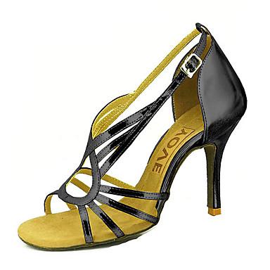 Mujer Zapatos de Baile Latino / Zapatos de Salsa PU Sandalia / Tacones Alto Hebilla / Corbata de Lazo Tacón Personalizado Personalizables Zapatos de baile Plata / Azul / Oro / Rendimiento / Cuero