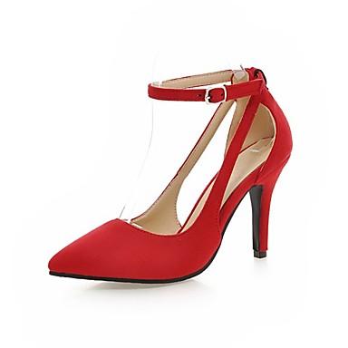 Pentru femei Pantofi Sintetic Primavara vara Noutăți Tocuri Plimbare Toc Stilat Vârf ascuțit Negru / Rosu