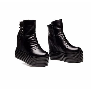 Femme Mode Creepers Bottes Confort 06682863 mollet Chaussures Cuir Hiver Noir Bottes la Bottes Automne à Mi gv8vqrCUwx