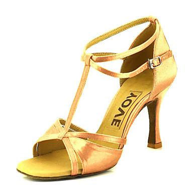 povoljno YOVE-Žene Saten Cipele za latino plesove / Cipele za salsu Kopča / Ukrasna trakica Sandale / Štikle Potpetica po mjeri Moguće personalizirati Bronza / Badem / Nude / Koža / Profesionalac / EU39