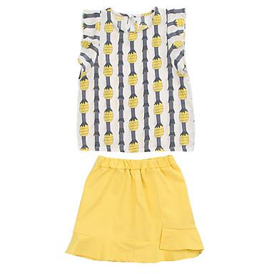 Dzieci Dla dziewczynek Aktywny ananasowy Owoc Nadruk Krótki rękaw Bawełna Komplet odzieży