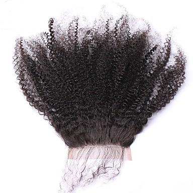 povoljno Perike i ekstenzije-SunnyQueen Mongolska kosa 5x5 Zatvaranje Kovrčav Besplatno dio Francuska mrežica Remy kosa / Ljudska kosa Žene S dječjom kosom