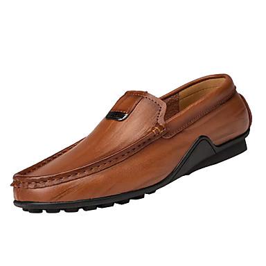 Men's Moccasin Leather / Cowhide Fall Black Comfort Loafers & Slip-Ons Black Fall / Light Brown / Dark Brown 96c712