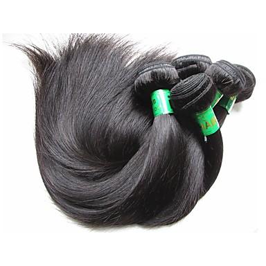 baratos Extensões de Cabelo Natural-10 pacotes Cabelo Indiano Liso 10A Cabelo Virgem Cabelo Natural Remy Extensões de Cabelo Natural Côr Natural Tramas de cabelo humano Macio Suave Para Mulheres Negras Extensões de cabelo humano