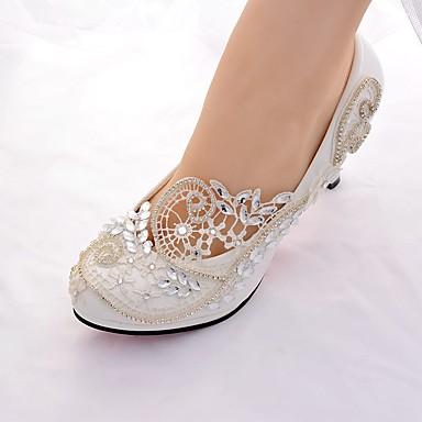 Women s Lace Spring   Summer Slingback   Basic Pump Wedding Shoes Stiletto  Heel Round Toe Rhinestone   Sparkling Glitter White a244fdd5a61e