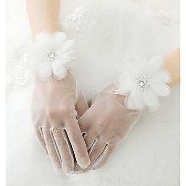 abordables Gants de Fête-Maille Longueur Poignet Gant A Fleurs / Gants de Mariée Avec Fleur