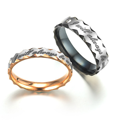 f1a53614a14 cheap Couple Rings-Cubic Zirconia Couple Rings Band Ring Titanium Steel  Steel Stainless Wave Ladies