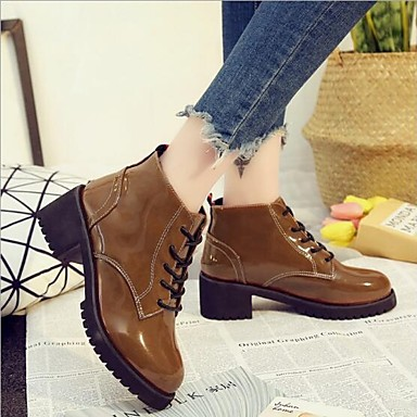 Mujer Ejército Marrón Verde 06701805 Botas Cuadrado PU invierno Confort Tacón Zapatos Otoño Negro rHOUrT