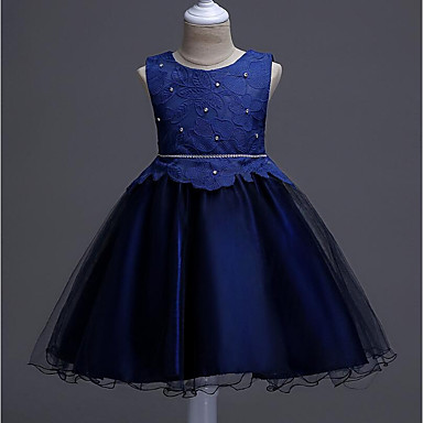cheap Gilrs' Party Dresses-Kids Girls' Active Party Going out Geometric Beaded Sleeveless Knee-length Cotton Polyester Dress Navy Blue / Cute