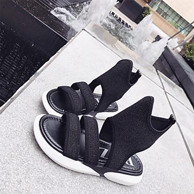 Pentru femei Cauciuc / EVA Vară Confortabili Sandale Plimbare Toc Drept Negru