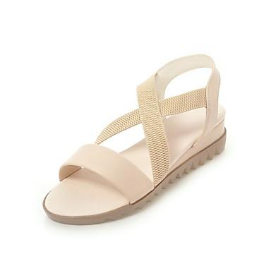 Bleu Beige Eté Sandales Femme Talon Chaussures Confort 06678492 Similicuir Bout Bas ouvert Rose qnS1A
