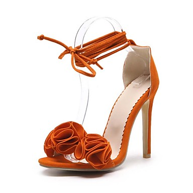 7f610c40d573 Women s Nubuck leather Summer Basic Pump Sandals Stiletto Heel Open Toe  Stitching Lace Orange   Yellow   Pink   Wedding   Party   Evening