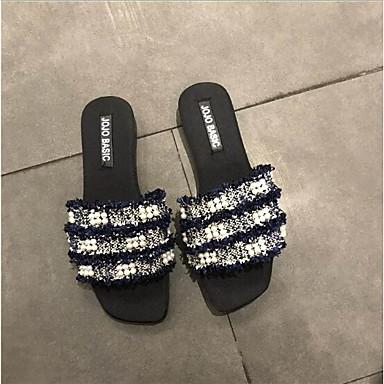 Plat Chaussons Cachemire Femme Blanc Talon 06667804 Eté Tongs Noir amp; Confort Bleu Chaussures w8wUBq1T