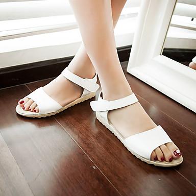 Chaussures ouvert Similicuir Noir 06684654 Rouge Eté Femme Confort Sandales Plat Talon Bout Blanc TOxxwfUA