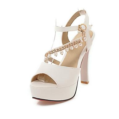 4bde6a532f3d5a ouvert Boucle Talon Beige Rose 06659356 Similicuir Bout Chaussures Bottier Sandales  Femme Imitation Eté Blanc Perle ...