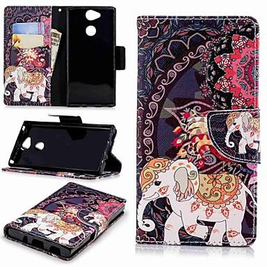 Kılıf Na Sony Xperia XA2 / Xperia L2 Portfel / Etui na karty / Z podpórką Pełne etui Słoń Twarde Skóra PU na Xperia XA2 / Xperia L2