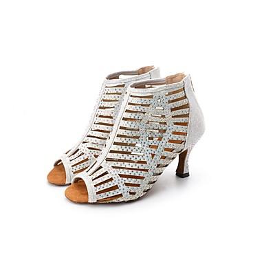 48a437cdb Carrete Baile Plateado 2019 6666796 Tacones Brillantina Personalizables Pedrería  Mujer Latino Alto de de Zapatos Zapatos ...