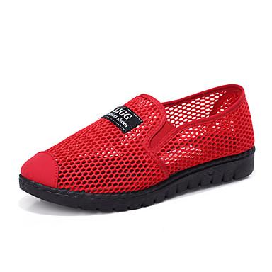les les les chaussures de femme de tulle Été / automne le confort des mocassins et glisser ons des chaussures de course croûton noire et rouge 3a479a