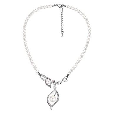 abordables Collier-Collier Pendentif Femme Perle Imitation de perle dames Rétro Vintage Mode Argent 40+5 cm Colliers Tendance Bijoux 1pc pour Cérémonie Sortie