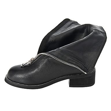 Mode 06661508 Automne Bottes rond Chaussures Noir Bout Printemps Bottes de boîtes la à Talon Plat Femme Combat Cuir TwFqH0