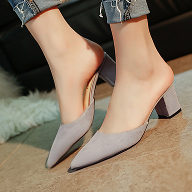 Tacón Negro pantuflas Mujer Zapatos Gris PU Primavera Zuecos Confort 06755348 y Cuadrado wqRO0OZWn