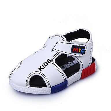 Băieți Pantofi PU Vară Confortabili Sandale Plimbare pentru Bebeluș Alb / Negru / Maro