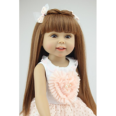 NPKCOLLECTION NPK DOLL Fashion Doll Country Girl 18 inch Full Body Silicone Silicone - Eco-friendly Gift Child Safe Non Toxic Tipped and Sealed Nails Natural Skin Tone Kid's Girls' Toy Gift