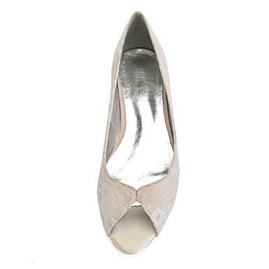 ... Printemps Champagne Dentelle amp  06766329 Femme Ballerine mariage Talon  Soirée de Bout Argent Ivoire Plat ... c75611a82996