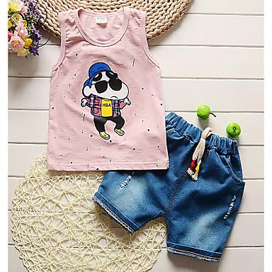 Bebelus Băieți Activ / De Bază Zilnic / Sport Geometric Fără manșon Regular Bumbac Set Îmbrăcăminte Trifoi 100 / Copil