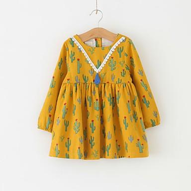 7d7af66de650 Μωρό Κοριτσίστικα Βασικό Γεωμετρικό Μακρυμάνικο Βαμβάκι Φόρεμα Χρυσό   Νήπιο