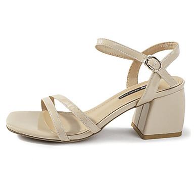 Pentru femei Pantofi PU Vară Pantof cu Berete Sandale Blocați călcâiul Bej / Rosu