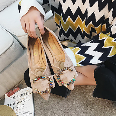 Pentru femei Pantofi Piele de Căprioară Primăvară Confortabili Pantofi Flați Toc Jos Negru / Bej