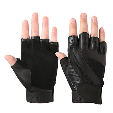 Mănuși de antrenament pentru Fitness / Bicicletă / Sală de Fitness Jumătate de Degete / Respirabil / alunecare anti- Piele de oaie O Pereche Negru / Galben
