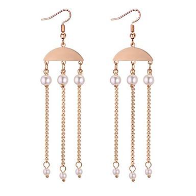 Pentru femei Franjuri Cercei Rotunzi - Imitație de Perle Stilat, Ciucure Auriu Pentru Dată Gril pe Kamado