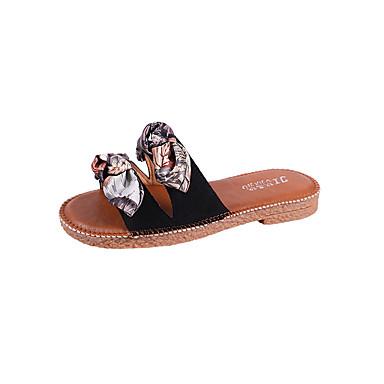 Pentru femei Pantofi Satin / PU Vară Pantof cu Berete Papuci & Flip-flops Toc Drept Negru / Galben